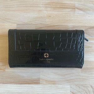 Kate Spade Black Crocodile Long Wallet